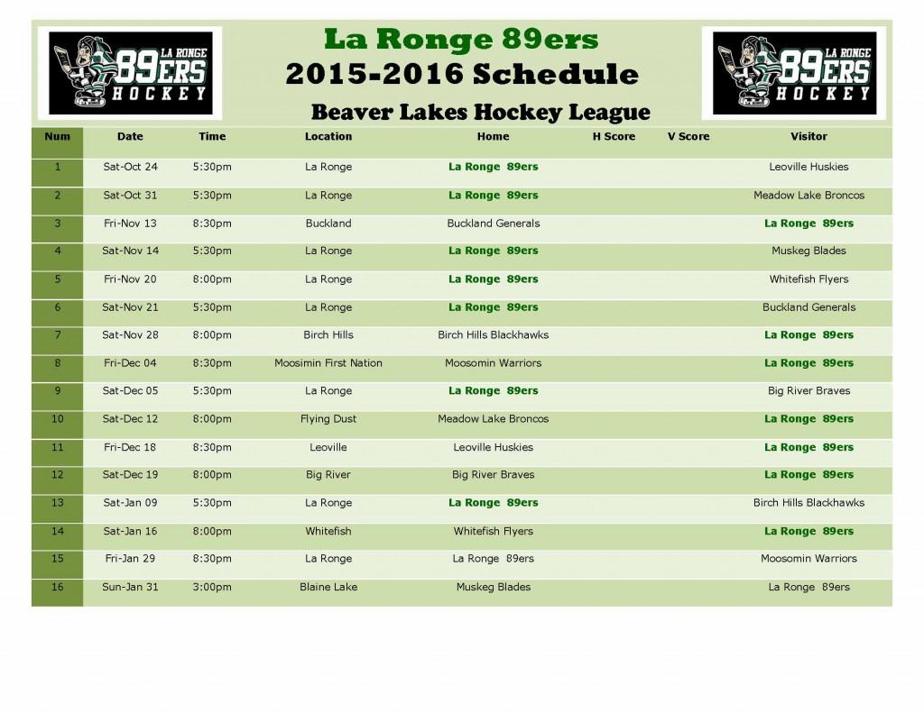89ers BLHL Schedule